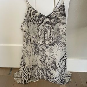 Animal print mini dress, grey & white snakeskin